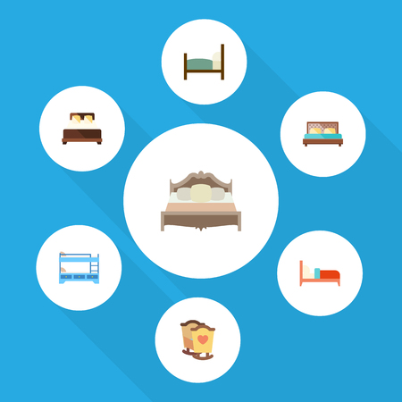 Flat Bedroom Set Of Bedroom, Mattress, Crib And Other Vector Objects. Also Includes Hostel, Double, Bearings Elements. Illustration