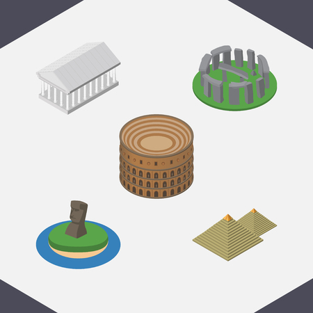 Isometric Travel Set Of England, Chile , Coliseum Vector Objects. Also Includes Museum, Pyramids, MoAI Elements.
