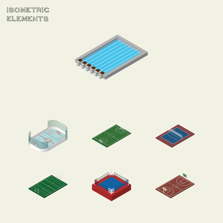 ko: Isometric Training Set Of Tennis, Fighting, B-Ball And Other Vector Objects. Also Includes Swimming, Fighting, Pool Elements.