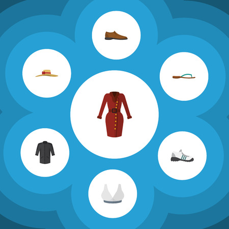 Flat Garment Set Of Beach Sandal, Uniform, Male Footware Vector Objects. Also Includes Sport, Flip, Footware Elements. Illustration