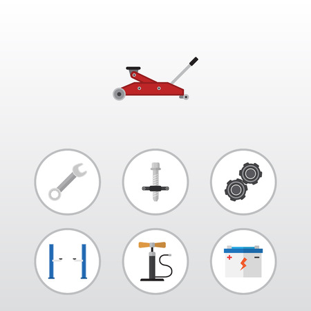 electricity export: Flat Auto Set Of Wheel Pump, Lifting, Auto Jack And Other Vector Objects. Also Includes Lifting, Jack, Car Elements.