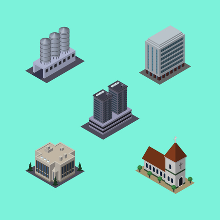 Isometric Urban Set Of Office, Water Storage, Chapel And Other Vector Objects. Also Includes Catholic, Church, Tower Elements.