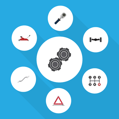 Flat Workshop Set Of Belt, Suspension, Carrying And Other Vector Objects. Also Includes Stop, Carrying, Spherical Elements.