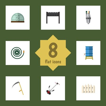 bbq barrel: Flat Garden Set Of Cutter, Barbecue, Grass-Cutter And Other Vector Objects. Also Includes Wooden, Scythe, Container Elements.