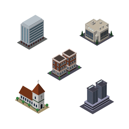 Isometric Building Set Of Office, Chapel, Tower And Other Vector Objects. Also Includes Church, Office, Tower Elements.