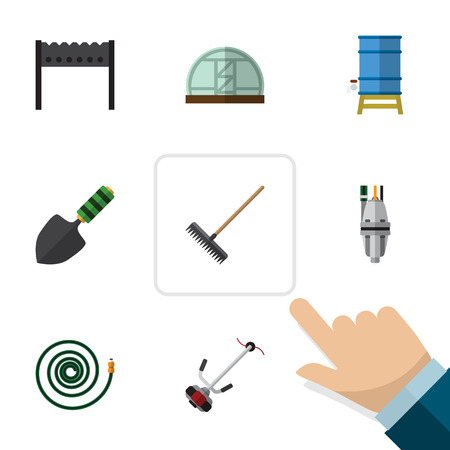 bbq barrel: Flat Garden Set Of Grass-Cutter, Harrow, Pump And Other Vector Objects. Also Includes Lawn, Hothouse, Trowel Elements.