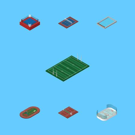Ensemble de compétition isométrique de tennis, volley-ball, bassin et autres objets vectoriels. Comprend également des éléments de glace, de football et de jeux. Banque d'images - 78612849
