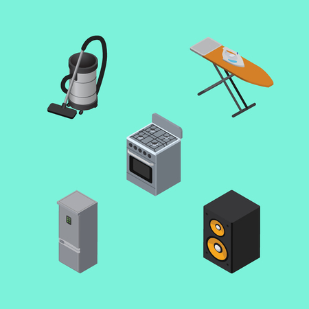 vac: Isometric Technology Set Of Vac, Stove, Kitchen Fridge And Other Vector Objects. Also Includes Fridge, Cooker, Vacuum Elements.