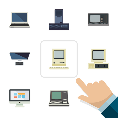 Flat Notebook Set Of PC, Computing, Technology And Other Vector Objects. Also Includes Computer, Keyboard, Screen Elements.