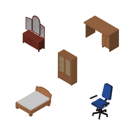 Isometric Furnishing Set Of Table, Bedstead, Office And Other Vector Objects. Also Includes Sideboard, Armchair, Office Elements. Illustration