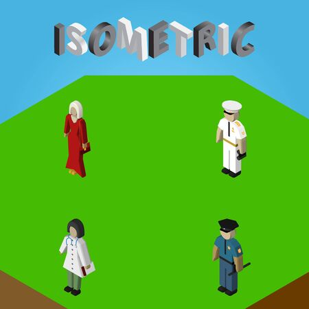 Isometric Person Set Of Female, Seaman, Doctor And Other Vector Objects. Also Includes Mariner, Female, Officer Elements.