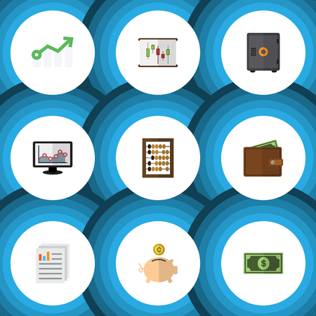 price gain: Flat Icon Incoming Set Of Money Box, Diagram, Greenback And Other Vector Objects. Also Includes Arrow, Calculator, Document Elements.