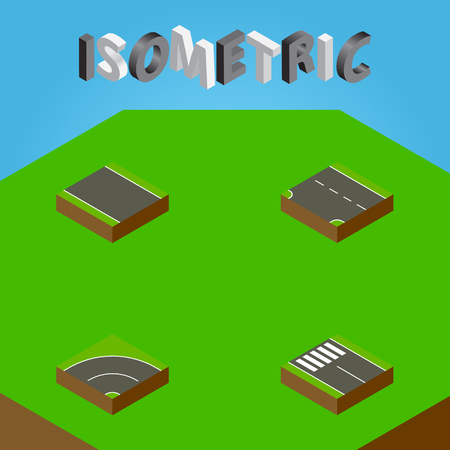 the roadside: Isometric Way Set Of Without Strip, Strip, Downward And Other Vector Objects. Also Includes Asphalt, Down, Downward Elements.