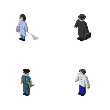 Isometric Human Set Of Male, Officer, Housemaid And Other Vector Objects. Also Includes Housemaid, Police, Male Elements.