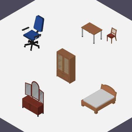 Isometric Furniture Set Of Office, Bedstead, Chair And Other Vector Objects. Also Includes Bed, Furniture, Locker Elements. Illustration