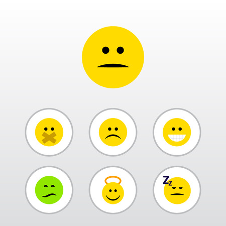 Flat Icon Expression Set Of Asleep, Displeased, Frown And Other Vector Objects. Also Includes Mood, Asleep, Sad Elements.