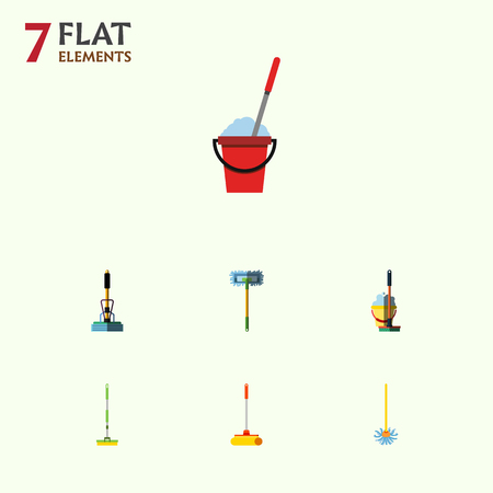 besom: Flat Icon Broomstick Set Of Bucket, Equipment, Mop And Other Vector Objects. Also Includes Cleaning, Sweeper, Cleaner Elements.