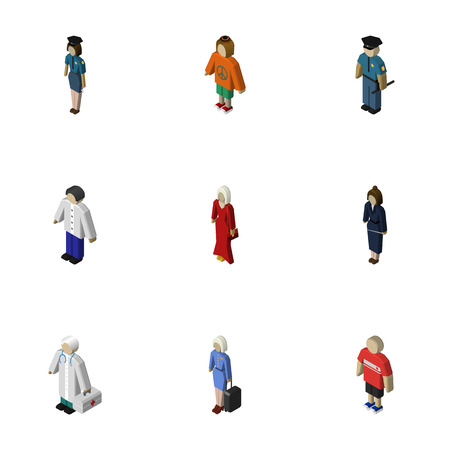 mujer policia: Isometric People Set Of Businesswoman, Officer, Hostess And Other Vector Objects. Also Includes Woman, Policewoman, Police Elements.