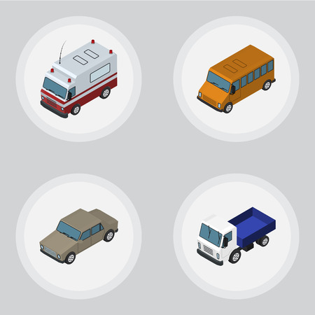Isometric Car Set Of Autobus, Lorry, First-Aid And Other Vector Objects. Also Includes Lorry, Ambulance, Bus Elements.