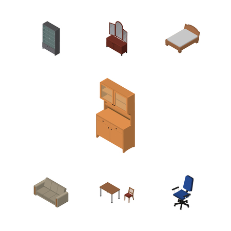 Isometric Furnishing Set Of Bedstead, Chair, Office And Other Vector Objects. Also Includes Closet, Table, Bed Elements. Illustration