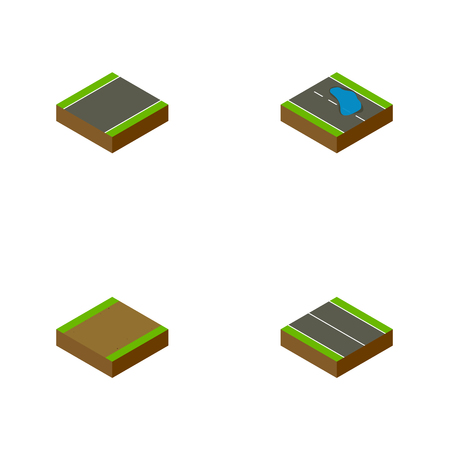 Isometric Road Set Of Flat, Footpath, Plash And Other Vector Objects. Also Includes Flat, Puddle, Plane Elements. Illustration