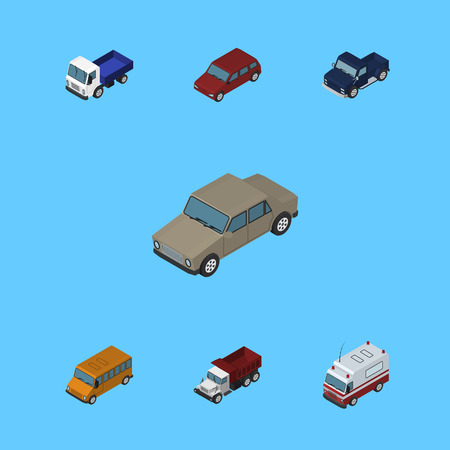 Isometric Car Set Of Freight, Auto, Lorry And Other Vector Objects. Also Includes Truck, Freight, Suv Elements.