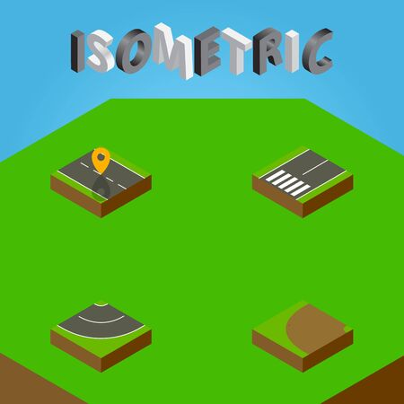 Isometric Way Set Of Footpassenger, Navigation, Turning And Other Vector Objects. Also Includes Road, Rotation, Asphalt Elements.
