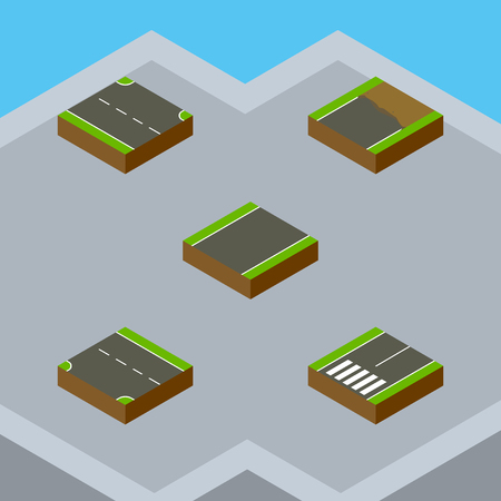the roadside: Isometric Road Set Of Rightward, Unfinished, Unilateral And Other Vector Objects. Also Includes Unfinished, Footpassenger, Incomplete Elements. Illustration