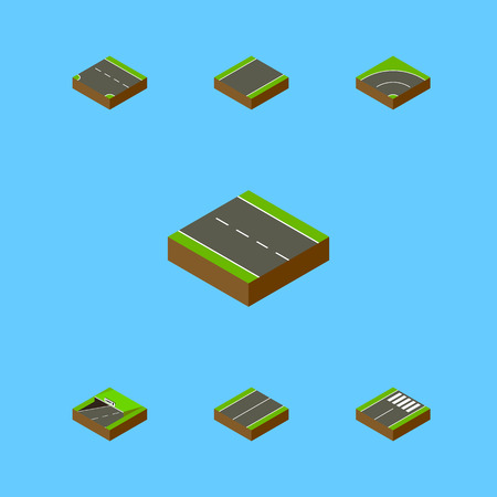 Isometric Road Set Of Plane, Single-Lane, Subway And Other Vector Objects. Also Includes Asphalt, Single, Lane Elements.