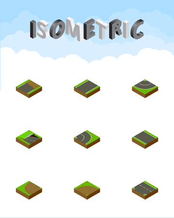unilateral: Isometric Road Set Of Unilateral, Downward, Without Strip And Other Vector Objects. Also Includes Unfinished, Rotation, Underground Elements.