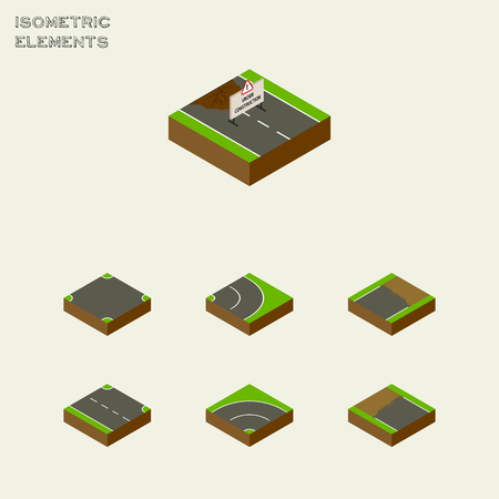 Isometric Way Set Of Crossroad, Rightward, Incomplete And Other Vector Objects. Also Includes Bitumen, Road, Unfinished Elements.
