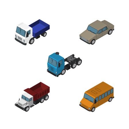 Isometric Transport Set Of Freight, Autobus, Auto And Other Vector Objects. Also Includes Transport, Sedan, Auto Elements.