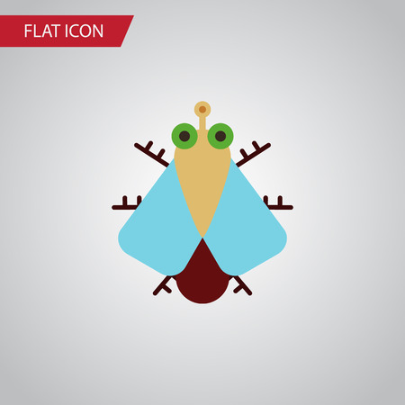 Isolated Housefly Flat Icon. Tiny Vector Element Can Be Used For Tiny, Housefly, Fly Design Concept.