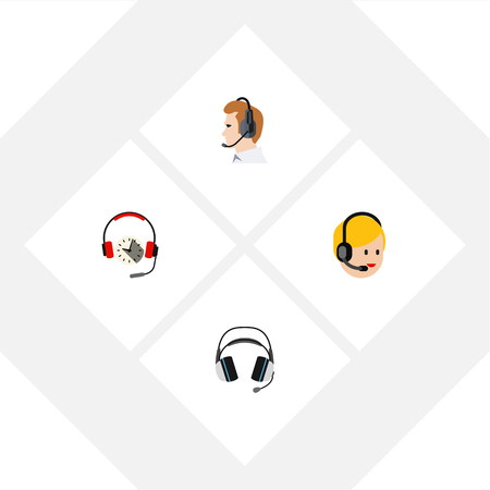 Flat Icon Telemarketing Set Of Headphone, Telemarketing, Call Center And Other Vector Objects. Also Includes Online, Telemarketing, Earphone Elements.