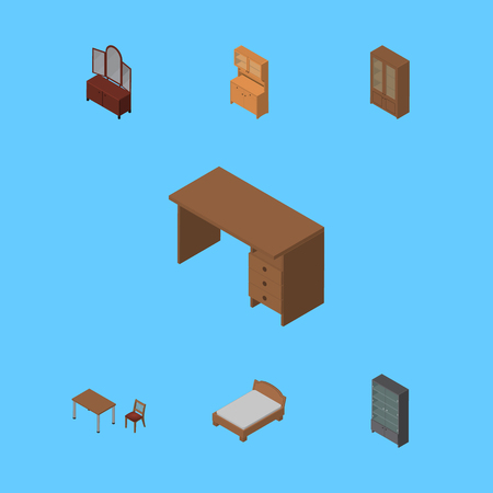 Isometric Design Set Of Sideboard, Bedstead, Cupboard And Other Vector Objects. Also Includes Locker, Wardrobe, Sideboard Elements.