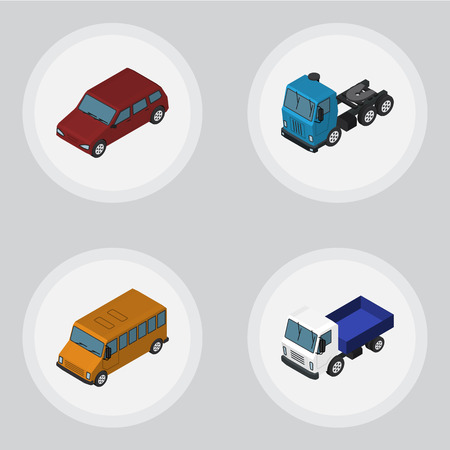 Isometric Transport Set Of Lorry, Autobus, Truck And Other Vector Objects. Also Includes Car, Truck, Bus Elements.