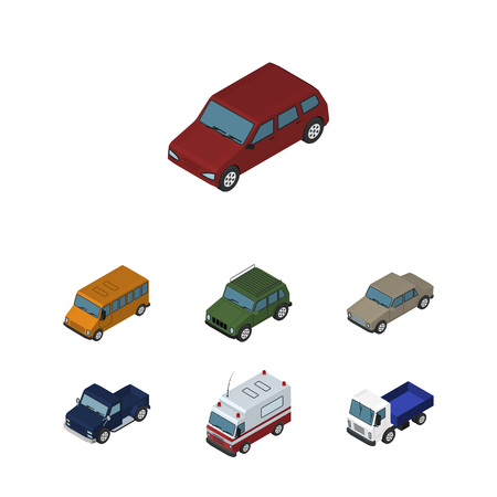 Isometric Transport Set Of Car, Auto, Autobus And Other Vector Objects. Also Includes Suv, Truck, Aid Elements.