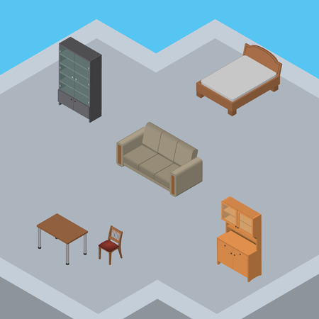 bedstead: Isometric Design Set Of Sideboard, Chair, Couch And Other Vector Objects. Also Includes Couch, Furniture, Chair Elements. Illustration