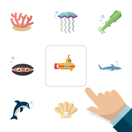 Flat icon nature set of medusa, scallop, periscope and other objects.
