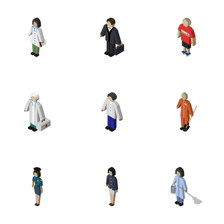sweeper: Isometric Person Set Of Doctor, Medic, Investor And Other Vector Objects. Also Includes Medic, Officer, Male Elements.