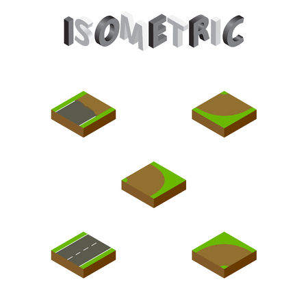 the roadside: Isometric Road Set Of Sand, Driveway, Turn Vector Objects. Also Includes Turn, Incomplete, Single Elements.