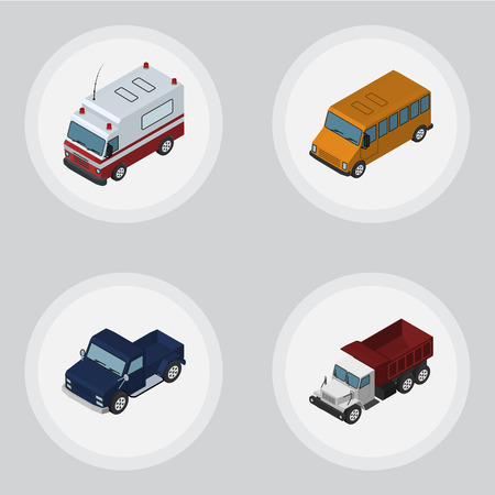 commercial medicine: Isometric Car Set Of Freight, Suv, First-Aid And Other Vector Objects. Also Includes Pickup, Truck, Car Elements. Illustration