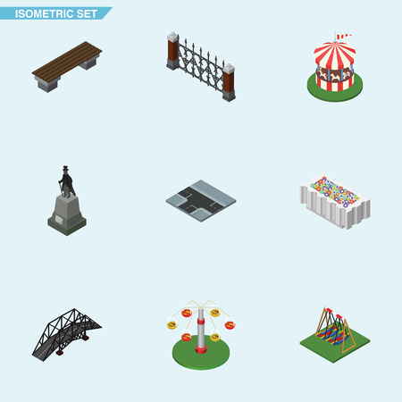 hedge: Isometric City Set Of Sculpture, Flower Decoration, Bench And Other Vector Objects. Also Includes Horses, Hedge, Bench Elements.