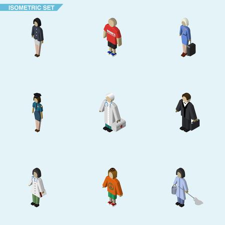 等尺性の人々 は、女の子、医師、医者、他のベクトル オブジェクトのセット。女性、女性、投資の要素も含まれています。