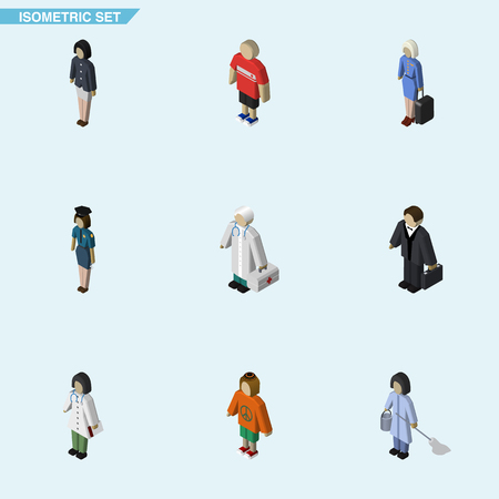 Isometric People Set Of Girl, Doctor, Medic And Other Vector Objects. Also Includes Woman, Female, Investor Elements. Illustration