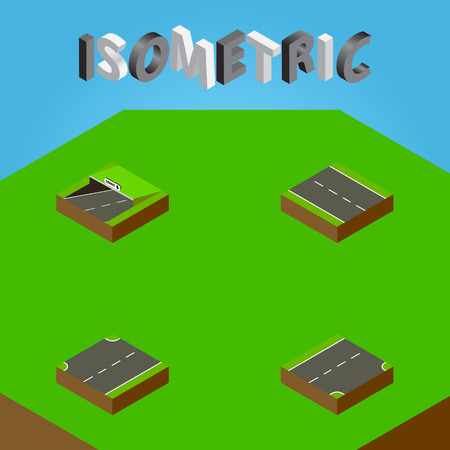 Isometric Road Set Of Upwards, Down, Subway And Other Vector Objects. Also Includes Underground, Road, Subway Elements.