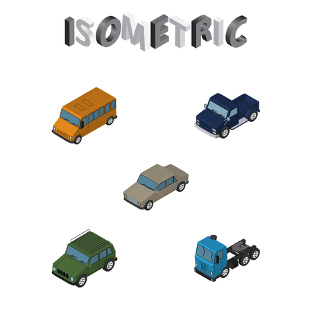Isometric Automobile Set Of Autobus, Truck, Armored And Other Vector Objects. Also Includes Sedan, Pickup, Car Elements.