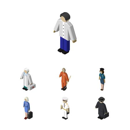 femme policier: Set de personnes isométrique de marin, détective, hôtesse et autres objets vectoriels. Comprend également policière, femme, éléments plus propres.