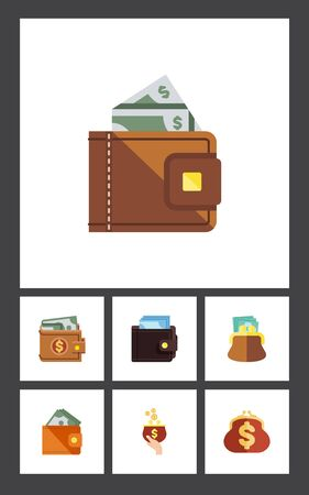 pouch: Flat icon billfold set of billfold, saving, wallet and other objects. Illustration
