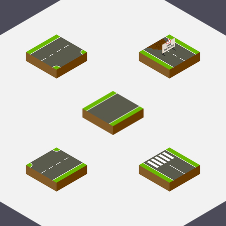 unilateral: Isometric road set of repairs, down, unilateral and other objects.